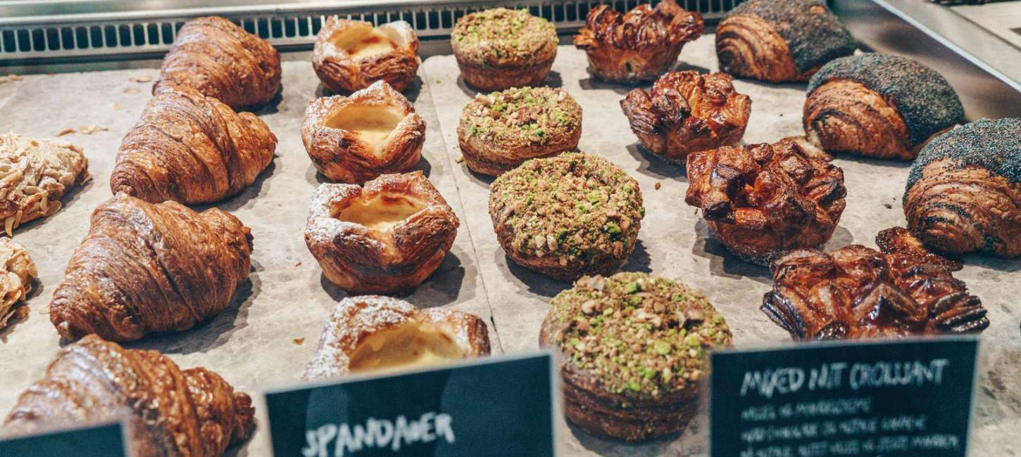 Fresh baked pastries and croissants at Copenhagen's popular Hart Bakery